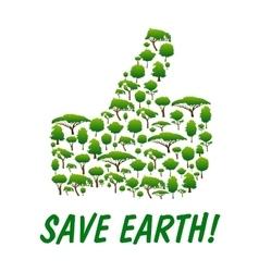 Save Earth Thumb up shape emblem vector image vector image
