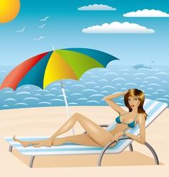 Sexy woman in bikini on the beach vector