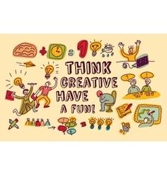 Think creative fun doodles people color vector image vector image