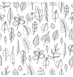 Black and white seamless pattern with leaves for vector image vector image