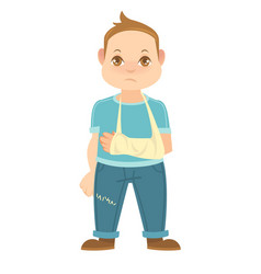 child with broken arm isolated on white boy vector image