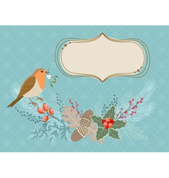 Christmas card with Robin bird vector image