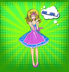 comic upset pretty woman template vector image
