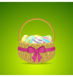 Easter basket and eggs on a green background vector image vector image