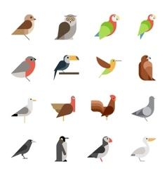 Flat design birds icon set vector image