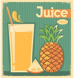 fresh pineapple juice on old paper vintage card vector image vector image