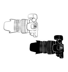 top view white and black camera vintage icon vector image