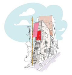 urban sketch with buildings and wire poles sloppy vector image