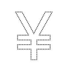 yen sign black dashed icon on white vector image