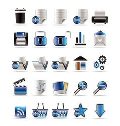 25 realistic detailed internet icons vector image vector image