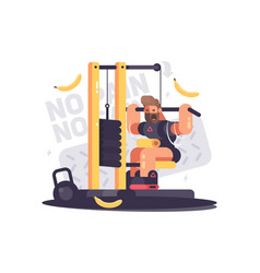 athlete trains on sport apparatus vector image