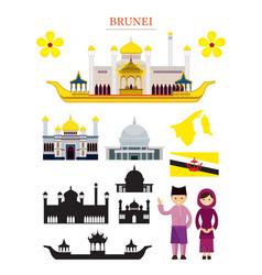 brunei landmarks architecture building object set vector image