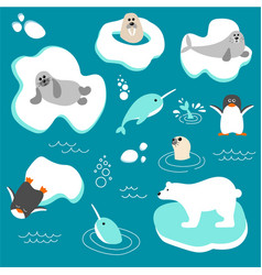 collection of polar animals in flat style vector image