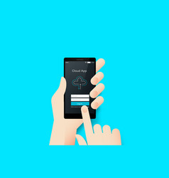 hand holding smartphone with conceptual cloud vector image