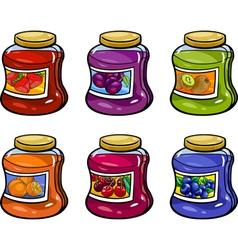 jams in jars set cartoon vector image