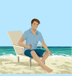 man sitting on a beach chair vector image vector image