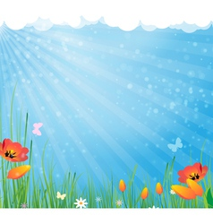 Sun and flowers vector image vector image