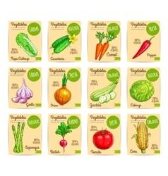 Vegetables price cards farm organic set vector image