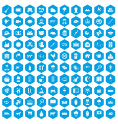 100 cow icons set blue vector