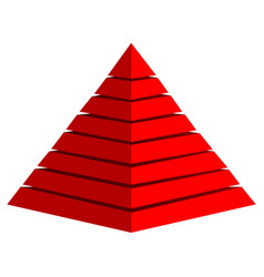 3d red pyramid vector