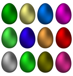 a set of painted easter eggs vector image