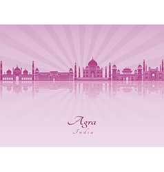 Agra skyline in purple radiant orchid vector
