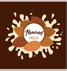 almond milk splashing effect with almond set vector image