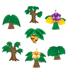 Ancient trees cartoon on white background vector image