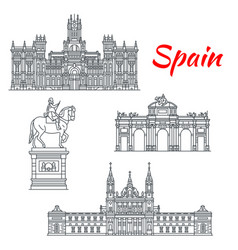 Architecture spain buildings icons vector