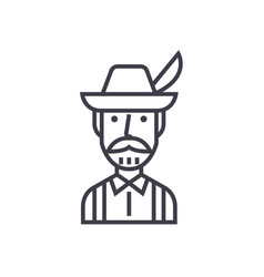 bavarian man concept thin line icon symbol vector image