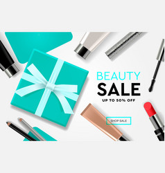 beauty sale template with cosmetic products gift vector image