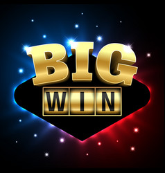 Big win casino banner for poker roulette slot vector