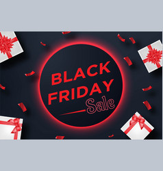 black friday sale banner with gift box and vector image