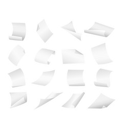 Blank paper sheets falling down on vector