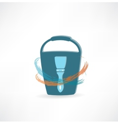 Bucket with brush icon vector