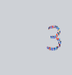 business people crowd gathering in number three 3 vector image
