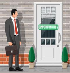 Businessman in front closed door vector