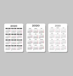 Calendar 2020 in russian design template vector