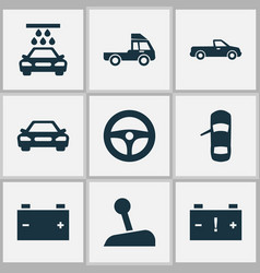 Car icons set with pickup truck battery and vector