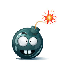 Cartoon bomb fuse wick spark icon tooth smiley vector