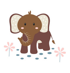 Cartoon elephant on white background cute animals vector