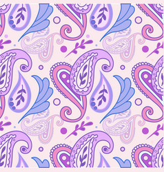 Classic paisley pattern in pink and purple with vector