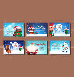 collection of cute posters to christmas and new vector image