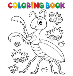 Coloring book praying mantis theme 1 vector