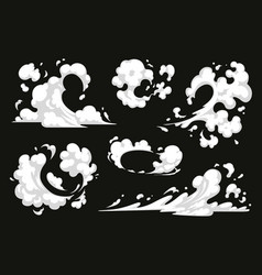 Comic explosion effect set dust smoke vector