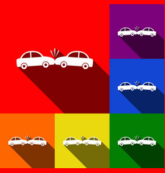 crashed cars sign set of icons with flat vector image