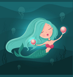 cute cartoon mermaid with a pearl in a flat style vector image