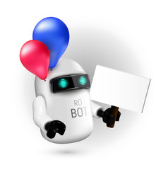 cute flying robot with red and blue balloons vector image
