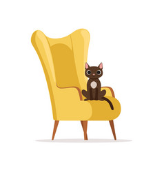 Cute funny cat sitting on a retro yellow armchair vector