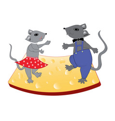 dancing a joyous pair of gray mice vector image